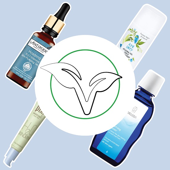 Vegan plant icon overlapping four vegan products stocked online by The Pharmacy Network