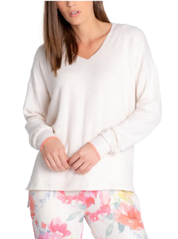 Happy Blooms V Neck Solid Long Sleeve-SS21