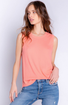 Textured Lounge Solid Tank  - SS21