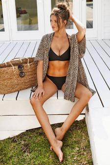 Brunette Kimono-Leopard