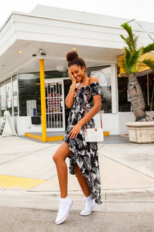 Waikiki Off Shoulder Dress-Palm Print
