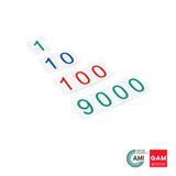 Plastic Number Cards: Large, 1-9000 by Gonzagarredi Montessori