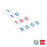 Plastic Number Cards: Small, 1-9000 by Gonzagarredi Montessori