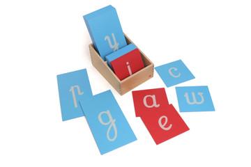 Sandpaper Letters, cursive, lower case by Gonzagarredi Montessori.