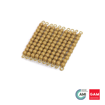 One Golden Bead Cube Of 100: Individual Beads (Nylon) by Gonzagarredi Montessori