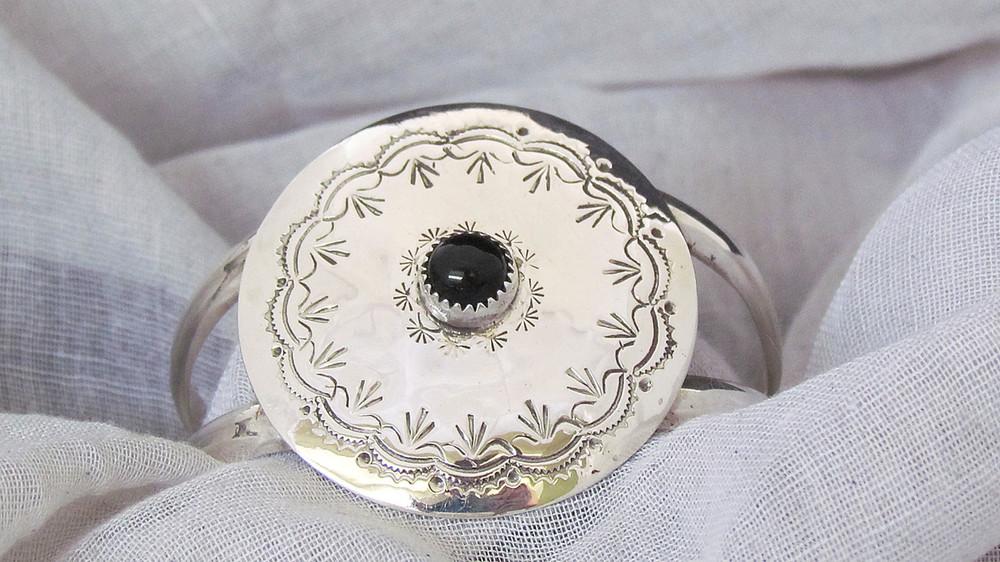 Doli Sterling Silver/Onyx Medallion Cuff Bracelet