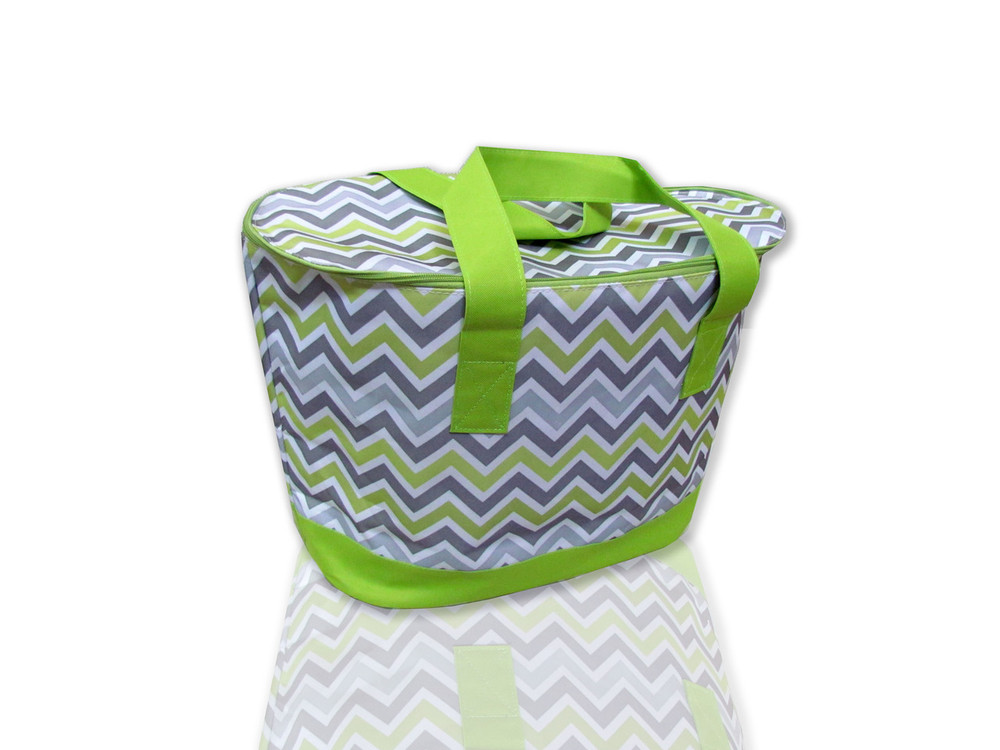 Large Insulated Weekender Tote in Chartreuse Chevron