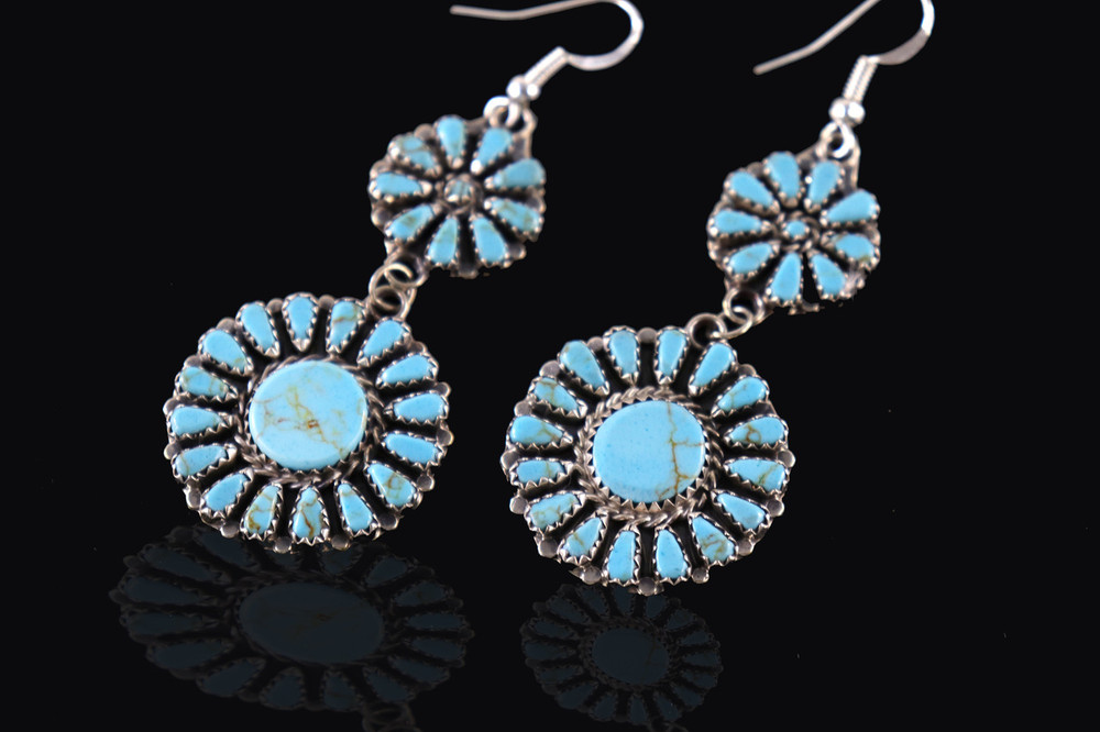 Etu Florette Turquoise & Sterling Silver Dangle Earrings