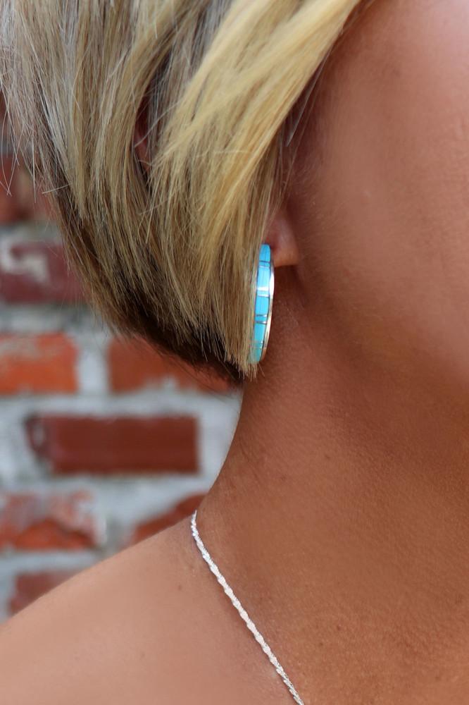 Fala Turquoise & Silver Hoop Earrings