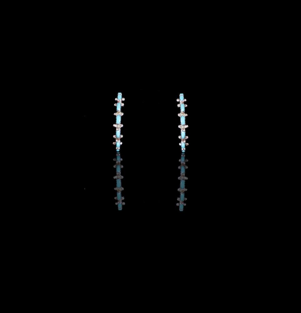 Pelipa Needlepoint Turquoise & Sterling Silver Semi-Hoops