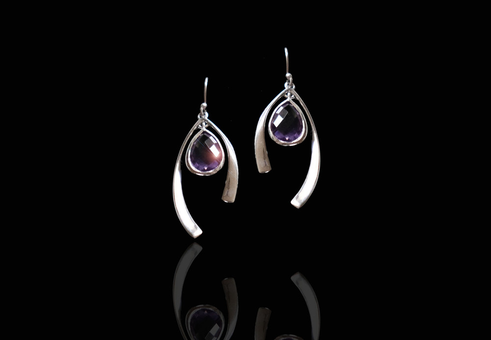 Purple Amethyst & Sterling Silver Wishbone Earrings