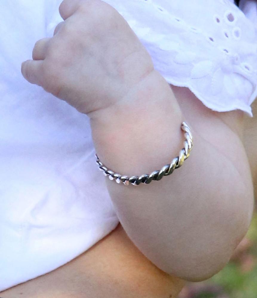 Haba Sterling Silver Twist Rope Bracelet Infant/Toddler