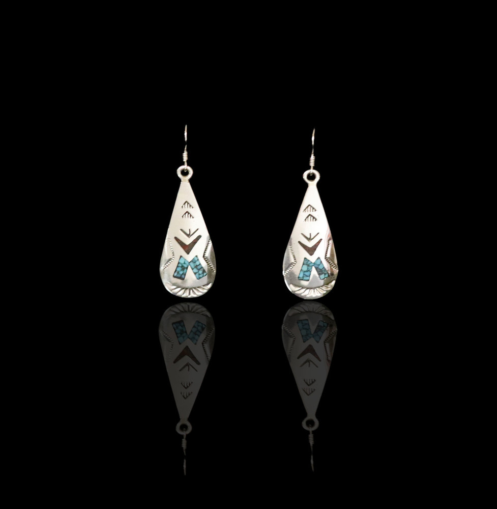 Fala Sterling Silver Earrings with Tepee Inlay Design