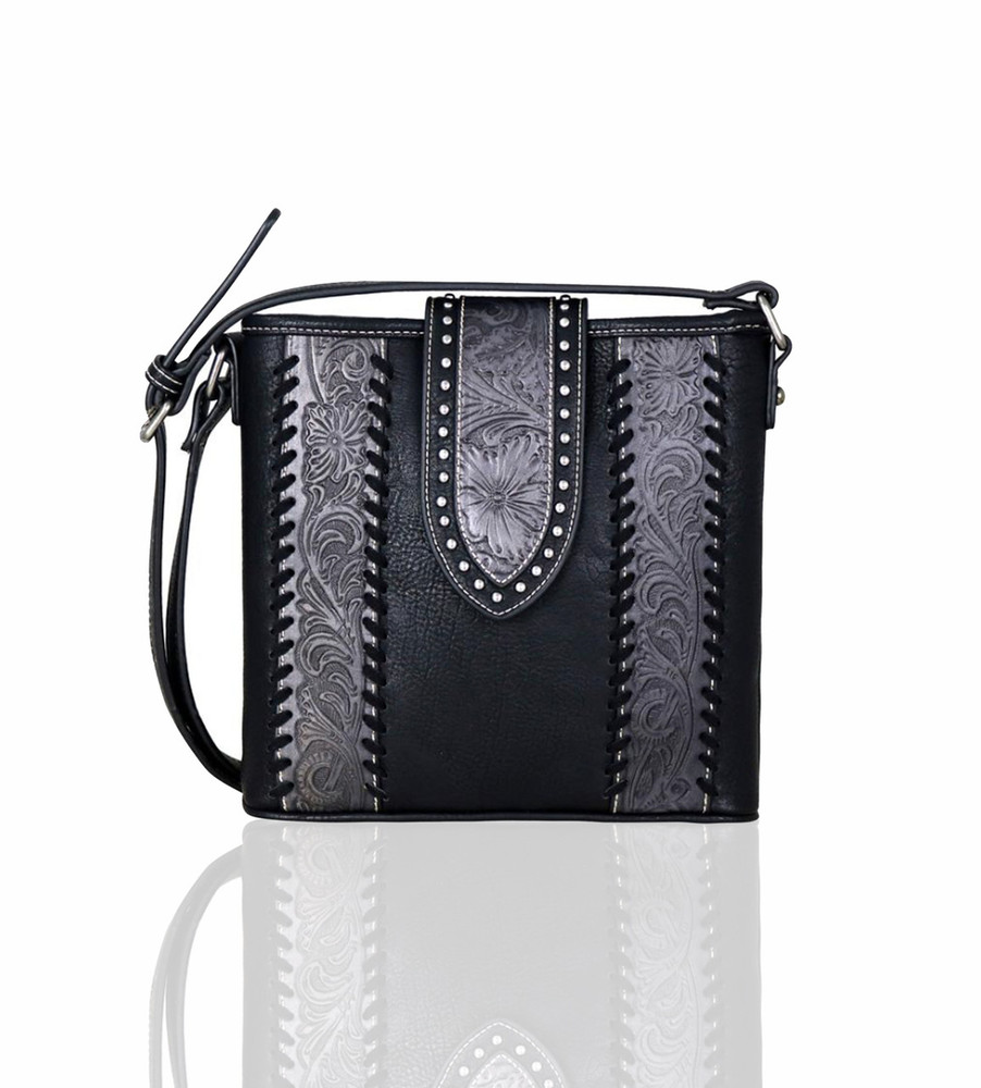 Trinity Ranch Tooled Crossbody Bag - Black