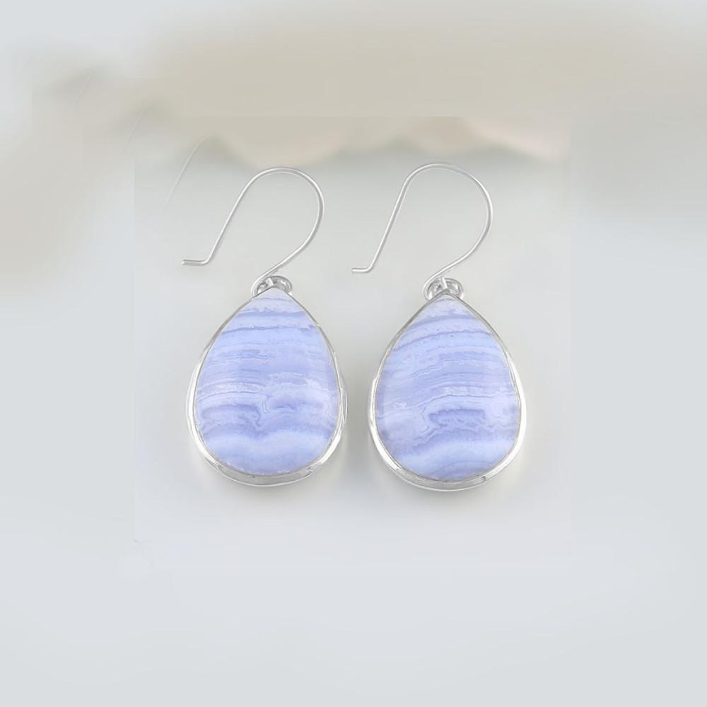 Blue Lace Agate Teardrop Earrings