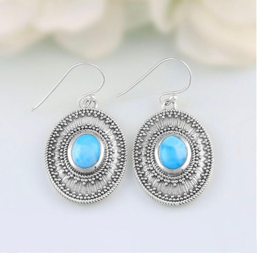 Larimar Medallion Earrings