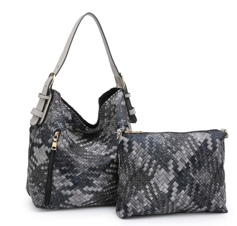 Carry Tote & Crossbody Set -  Black & Grey Tweed