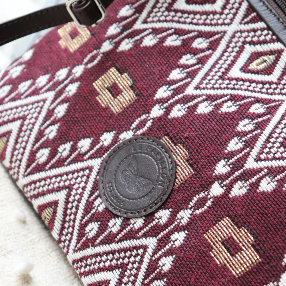 Burgundy Jacquard Crossbody with Genuine Leather