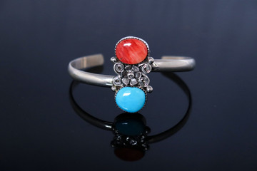 Luyu Turquoise & Coral Sterling Silver Bracelet