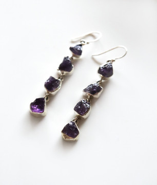 Purple Amethyst  Dangle Earrings