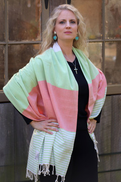 Campeche Pink & Green Cotton Wrap