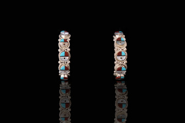 Fala Sunface Inlay Sterling Silver Earrings