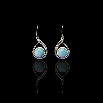 Larimar Round Drop Earrings