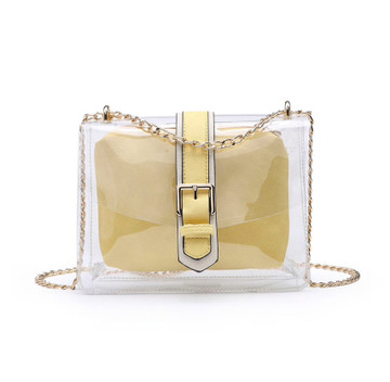 2-In-1 Clear Crossbody & Cosmetic Bag - Soft Yellow
