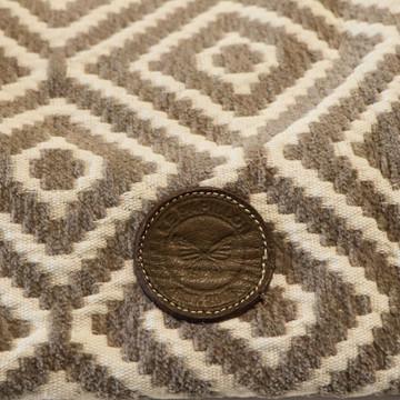 Diamond Jacquard Tote with Genuine Leather - Brown