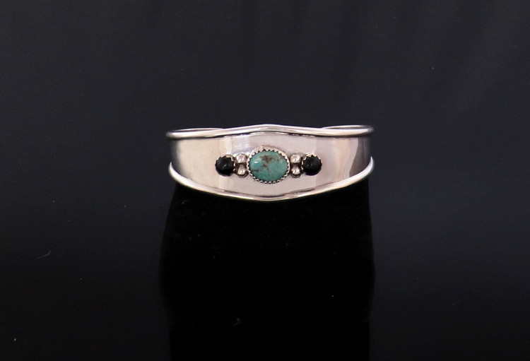 Luyu Turquoise & Onyx Sterling Silver Contemporary Cuff Bracelet