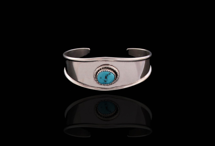 Luyu Turquoise & Sterling Silver Contemporary Cuff Bracelet