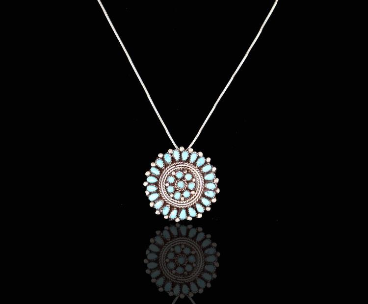 Etu Florette Turquoise & Sterling Silver Pendant/Brooch & Chain