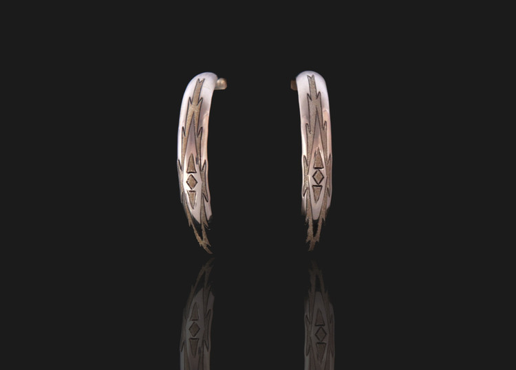 Haba  Etched Large Sterling Silver Semi-Hoop Earrings