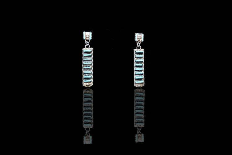 Pelipa Turquoise & Sterling Silver Bar Earrings