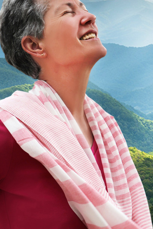 Bertha Pink Striped Cotton Scarf