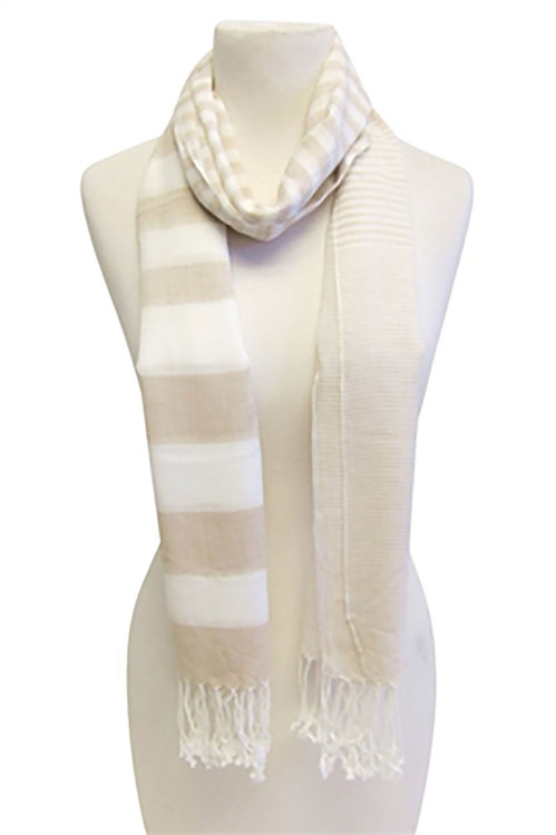 Della Oatmeal Striped Cotton Scarf