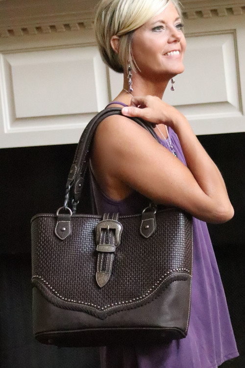 Trinity Ranch Plantation Basket Weave Tote  in Coffee with Concealed Carry Pocket
