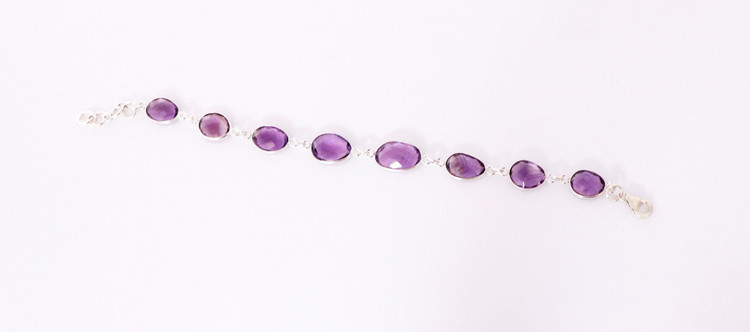 Purple Amethyst & Sterling Silver Link Bracelet