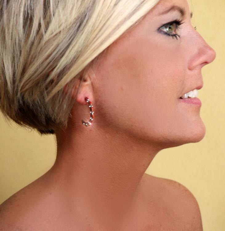 Pelipa Coral & Sterling Silver Semi Hoop Earrings