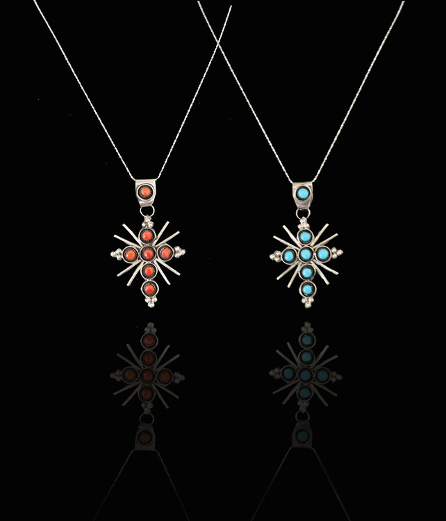 Luyu Reversible Turquoise/Coral & Silver Cross