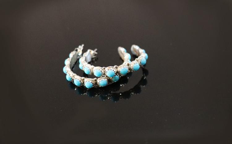 Luyu Turquoise & Sterling Silver Hoop Earrings