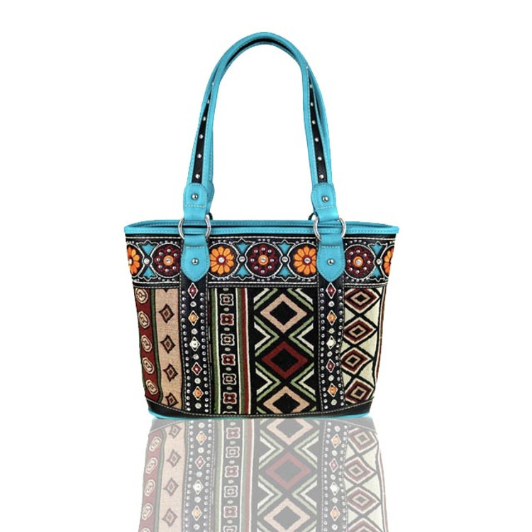 Montana West Turquoise Aztec Tote with Concealed Gun Pocket