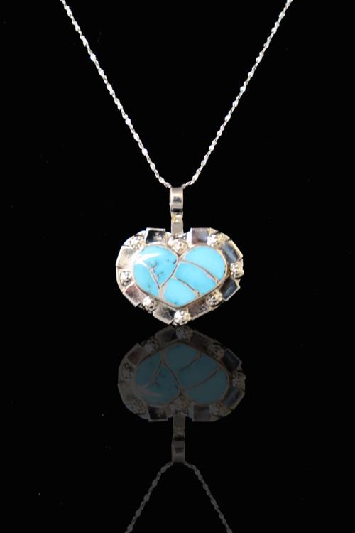 Fala Inlaid Heart Pendant & Chain
