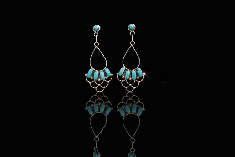 Dashana Chandelier Turquoise & Sterling Silver Post Earrings