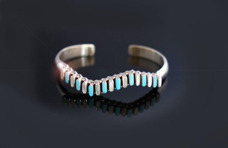 Dashana Zig Zag Turquoise & Opal Sterling Silver Bracelet