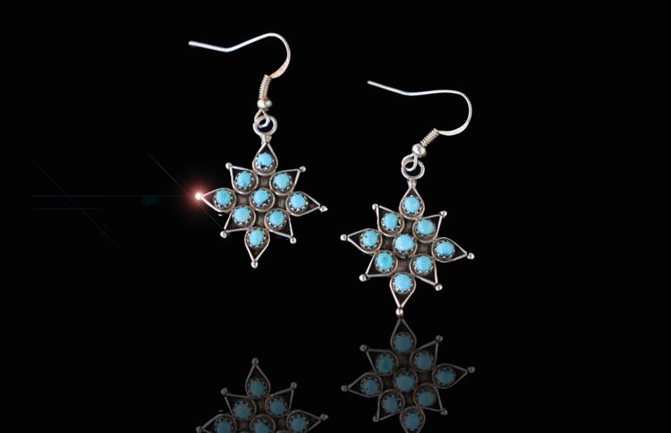 Etu Star Turquoise & Sterling Silver Earrings