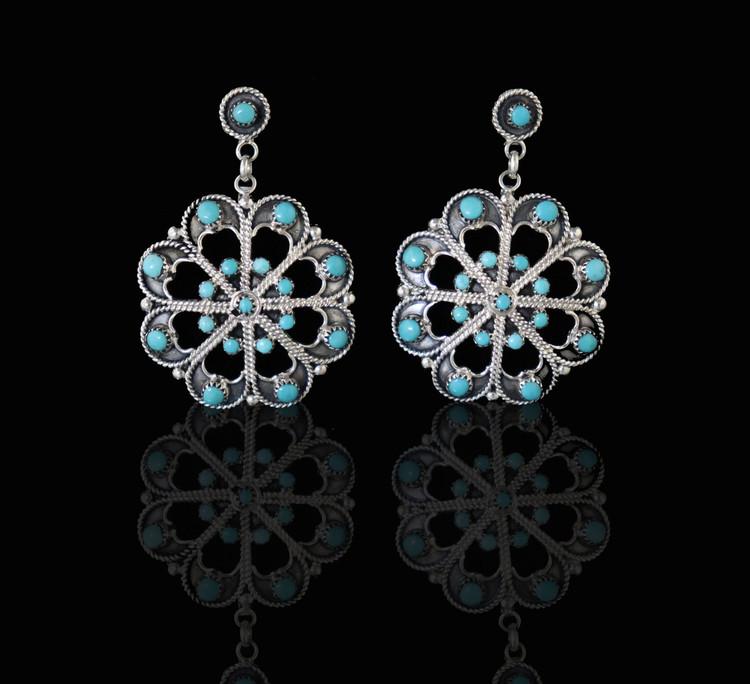 Etu Florette Turquoise & Sterling Silver Post Earrings