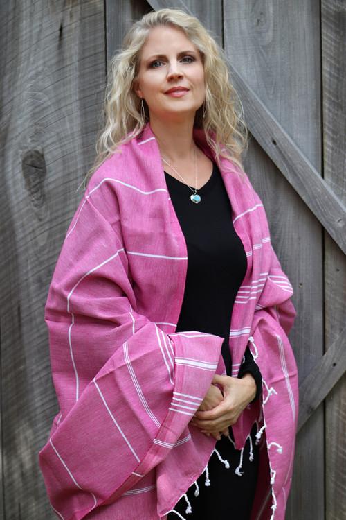 Santa Rosa Hand-Loomed Wrap Bright Pink