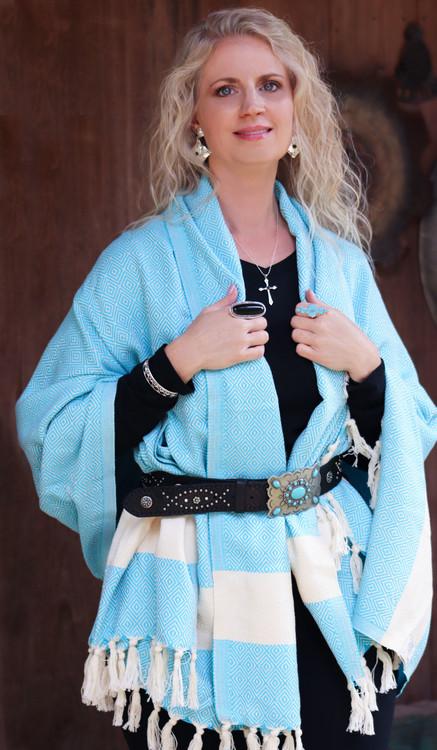Loreto Hand-Loomed Diamond Weave Wrap Turquoise
