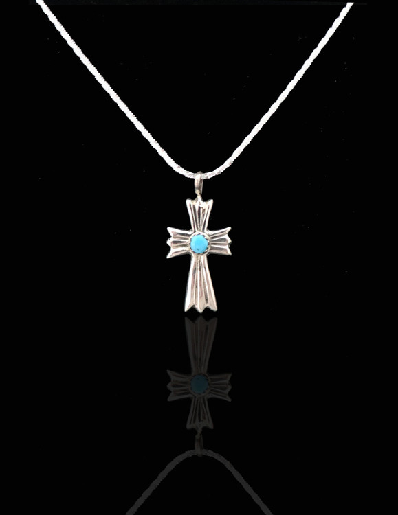 Luyu Sterling Sterling Silver & Turquoise Cross
